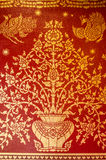 Flower Traditional Thai Style Painting On Red Blackground