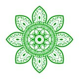Flower traditonal ornament tattoo. Close up illustration of a flower traditonal ornament tattoo isolated on white background art green character cute design royalty free illustration