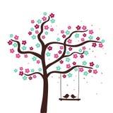 Flower tree. Spring flower love tree. Vector illustration Stock Image