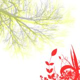 Flower and tree. On white backgound stock illustration