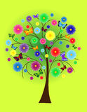 Flower tree with colored butterflies. Abstract flower tree with colored butterflies stock illustration
