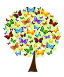 Flower tree with colored butterflies. Abstract flower tree with colored butterflies vector illustration
