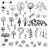 Flower and tree doodle from free hand  drawing vector set Stock Photos