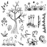 Flower and tree doodle from free hand  drawing vector set Royalty Free Stock Image