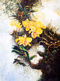 Flower on the tree of oil painting Stock Photos