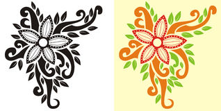 Flower tribal. Bloom flower in floral vintage classic background with line art style Royalty Free Stock Photos