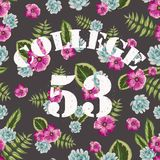 Flower tropical seamless pattern with college. Style sketch. Vintage style, painted plants Stock Images