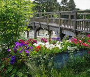 Flower trough by a Wooden Footbridge Royalty Free Stock Photos