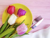 Flower tulip blooming , a plate on a pink wooden romantic background, birthday. Flower tulip, a plate on a pink wooden background birthday romantic blooming stock photos