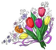 Flower, tulips, bouquet. Flowers tulips, holiday bouquet on a white background Stock Images