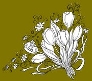 Flower, tulips, contour. Flowers tulips, holiday bouquet, , monochrome contour Stock Photos