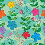 Flower turning music note happy seamless pattern. This illustration is abstract flower happy like music turning, miracle growth the leaves on top too in seamless Stock Photography