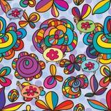 Flower turtle drawing seamless pattern Royalty Free Stock Image