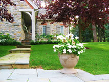 Flower Urn by House. Flower urn with stone steps to pretty stone house with shutters stock image