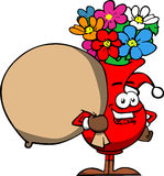 Flower vase as Santa Claus with a big sack Stock Photo