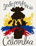 Flower Vase Broken and Splashes for Colombian Independence Day, Vector Illustration. Poster with Llorenteflower vase broken silhouette with a tricolor splash in stock illustration