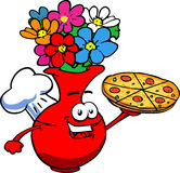 Flower vase chef showing a delicious pizza Royalty Free Stock Photography