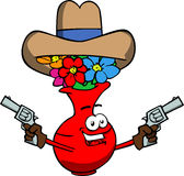 Flower vase cowboy with gun Stock Images