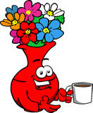 Flower vase with a cup of coffee Stock Image