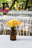 Flower vase on dining table Stock Images