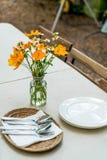 Flower in vase on dinning table. Flower in vase decoration on dinning table stock photos
