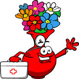 Flower vase doctor with first aid kit Royalty Free Stock Photos