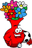 Flower vase with football or soccer ball Royalty Free Stock Images