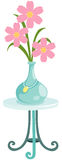 flower in vase on glass table Royalty Free Stock Images