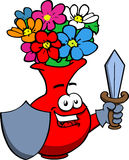 Flower vase guard with shield and sword Stock Images