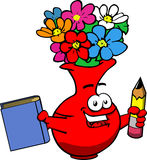 Flower vase holding a book and a pencil Royalty Free Stock Image