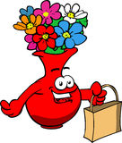 Flower vase holding an empty bag Royalty Free Stock Photography