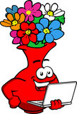 Flower vase holding laptop Royalty Free Stock Photography