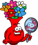 Flower vase holding a mirror Stock Image