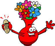 Flower vase holding ringing phone Stock Image