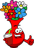 Flower vase holding soda and showing thumb up sign Stock Images