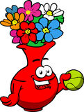 Flower vase holding a tennis ball Royalty Free Stock Images