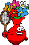 Flower vase holding a tennis rocket Stock Image