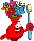 Flower vase holding tooth brush Royalty Free Stock Images