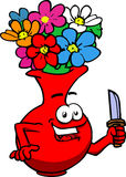 Flower vase with a knife Stock Image