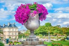 Flower vase at Luxembourg Garden. Jardin du Luxembourg, Paris stock image