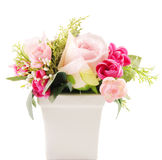 Flower in vase. Pink flower in white vase Stock Photo