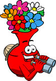 Flower vase scout or explorer with binoculars Stock Image