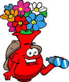 Flower vase scout or explorer with binoculars Royalty Free Stock Photos