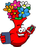 Flower vase speaking on a smartphone while reading a tablet Stock Images