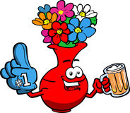 Flower vase sports fan with glove and beer Royalty Free Stock Image