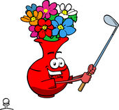 Flower vase swinging his golf club Royalty Free Stock Image