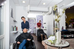 Flower Vase On Table In Hair Salon stock photography