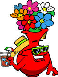 Flower vase tourist holding a drink Stock Images