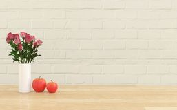 Flower in the vase with two apples Stock Photography