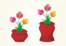 Flower on the vase vector collection Royalty Free Stock Photography
